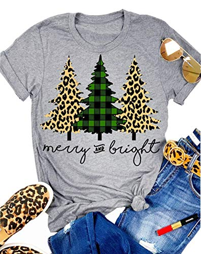MNLYBABY Leopard Printed Plaid Christmas Trees T-Shirt for Women Merry and Bright Graphic Tees Tops Xmas Gift Grey