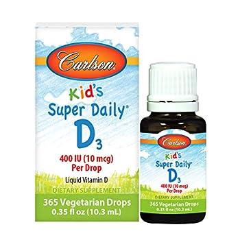Carlson - Kid s Super Daily D3 Kids Vitamin D Drops 400 IU  10 mcg  per Drop Heart & Immune Health Vegetarian Liquid Vitamin D Drops Unflavored 365 Drops