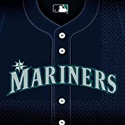 "36 Luncheon napkins Measures 6.5"" x 6.5"" Invite your fellow fans over to a table honoring your favorite team Matches our other items in the ""Seattle Mariners Major League Baseball"" collection"