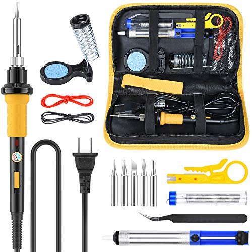 SEEKONE 15 in 1 Soldering Iron Kit 60W Adjustable Temperature 428°F-896°F Welding Tool, 5pcs Soldering Iron Tip, Desoldering Pump, Soldering Iron Stand, Wire Cutter,Tweezers