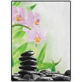 """Spa Pattern Rugs Easy to Clean Stain Fade Resistant Super Soft Zen Basalt Stones and Orchid with Dew Peaceful Nature Theraphy Massage Meditation Black Pink Green 84"""" x 60"""""""