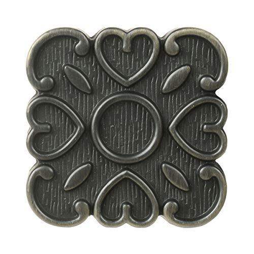 LZWOZ Saim Handvat van het meubilair Plein Gesneden Kast Knop Zinc Alloy Material Furniture Button 6 stuks Metal kabinet Knop Handle Met schroefjes (Color : Bronze, Size : As chart)