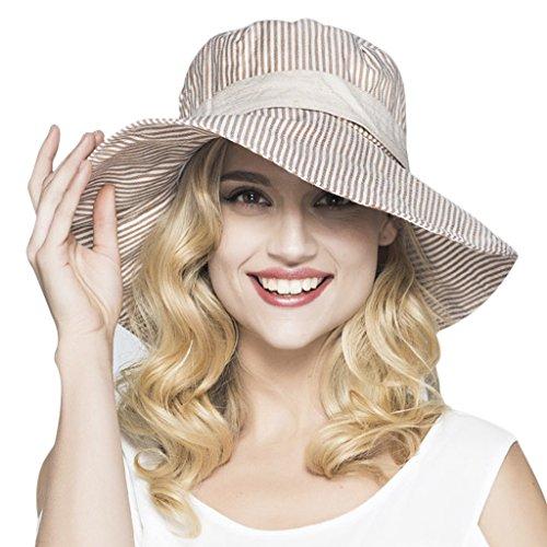 YSXY Sonnenhut für Damen Mädchen Fischerhut Sonnenschutz Strandhut Anti-UV Streifen Hüte Hut Kappe aus Baumwolle,Kaffee