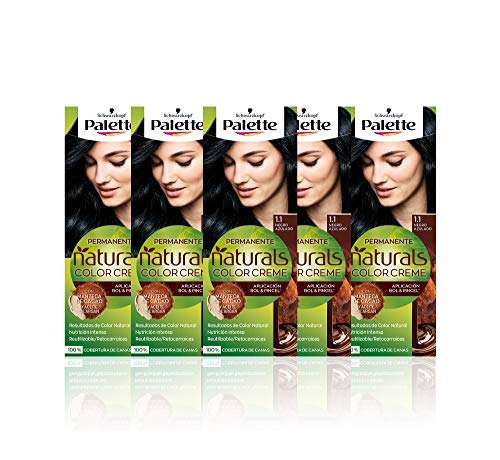 Schwarzkopf Palette Naturals Color Creme - Tono 1.1 cabello Negro Azulado (Pack de 5) - Coloración Permanente – Perfecta cobertura de canas – Colores increíblemente naturales