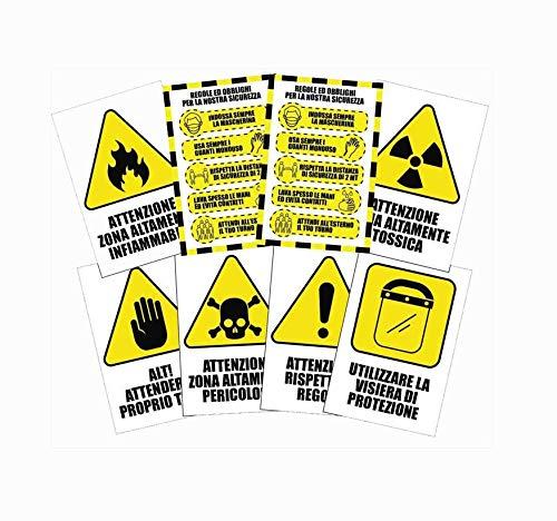Pack di 8 cartelli adesivi covid security  - regole di sicurezza per cantieri - dimensione 13,5 x 20 cm (PVC)