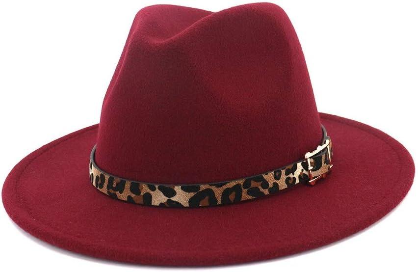 LHZUS Hats Panama Hat Men Women Cotton Jazz Visor Fedora Hat Belt Buckle Hat Church Decoration Fascinating Hat (Color : Wine red, Size : 59-60cm)