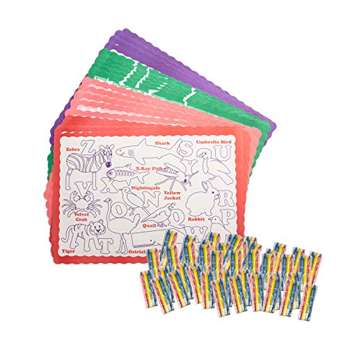 Coloring Placemats with 3 Pack Restaurant Crayons, Fun Alphabet Educational Paper Place Mats with to Go Pack Crayons, 50 Pk