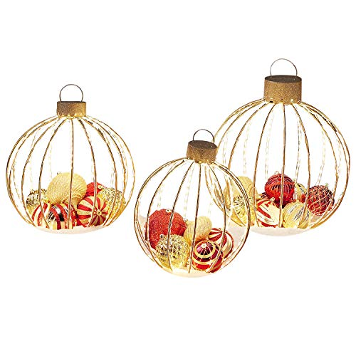 LED Christmas Holiday Lighted Twinkling 3pc Oversize Ornament Yard Decor