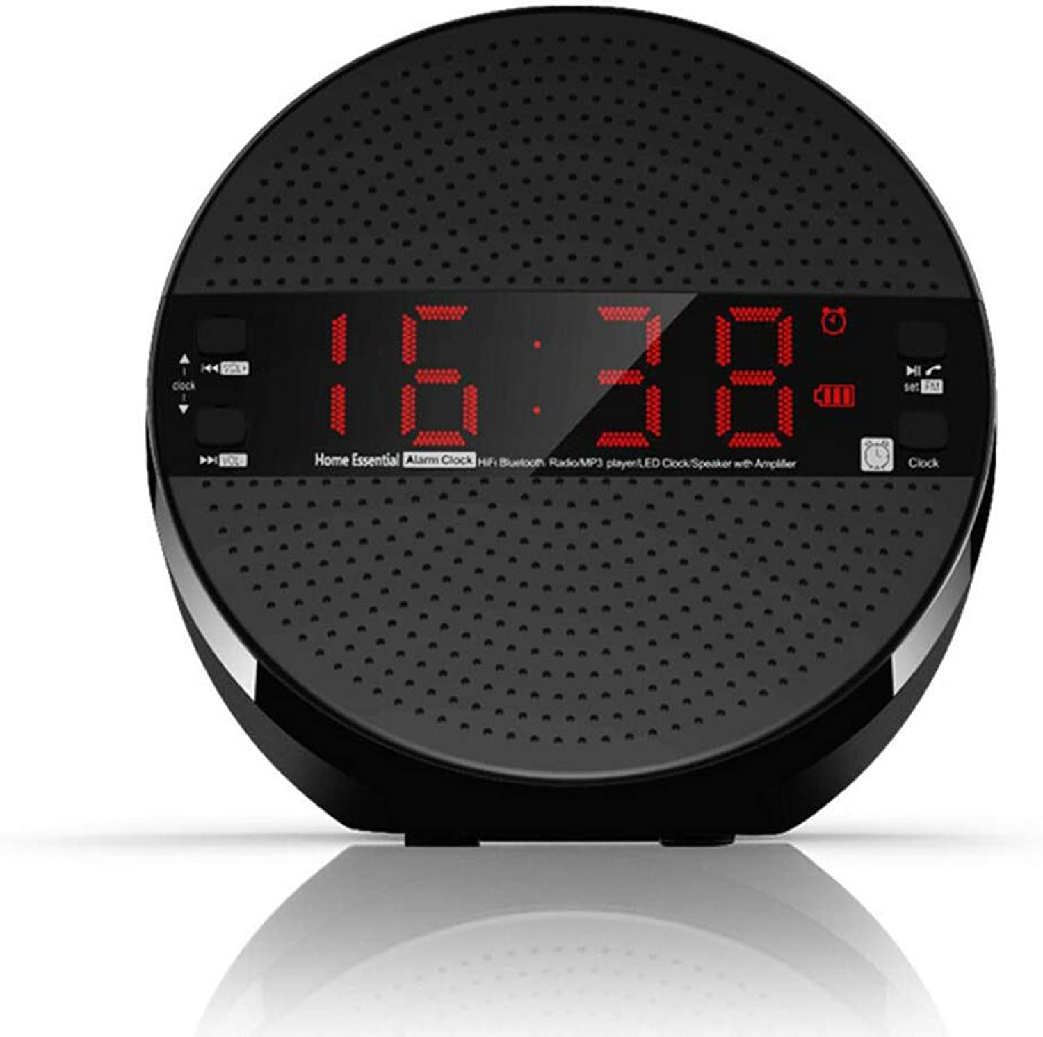 Black Desktop blueetooth Speaker LED Clock Subwoofer Radio Portable Card U Disk Wireless Compact Stereo Support Remote Control Operation Timing Shutdown