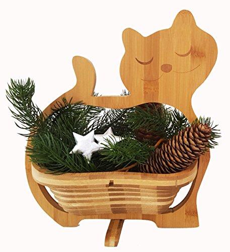 CleanPrince > GATOS < Cesta plegable 30 x 30 cm Bambú Madera de Cuenco Frutero Frutas Decoración Tazón fuente vegetal Platillo pascua