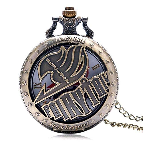 WYDSFWL Collar Cool Japaneses Animation Fairy Tail Dragneel Hollow Design Reloj de Bolsillo de Cuarzo con Cadena de Collar para Mujeres Hombres Collar de Regalo Collar