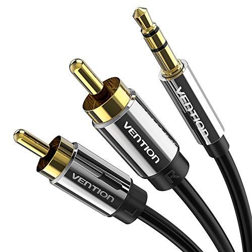 VENTION 3,5-mm-Buchse für Cinch-Audiokabel Audio-Verbindungskabel 2 Cinch-Stecker - 3,5-mm-Stecker Stereo-Y-Splitter-Adapterkabel, kompatibel mit DJ-Controller-Lautsprechern TV-HiFi-Verstärker (2m)