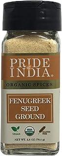Pride Of India - Organic Fenugreek Seed Ground - 2.8 oz (80 gm) Small Dual Sifting Jar - Authentic Indian Vegan Spice - Gl...