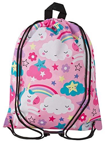 Aminata Kids - Kinder-Turnbeutel für Mädchen und Damen mit Unicorn Sache-n Pferd-e Haus-Tiere Einhorn Sport-Tasche-n Gym-Bag Sport-Beutel-Tasche rosa pink Weiss Wolke-n Regenbogen Stern-e…