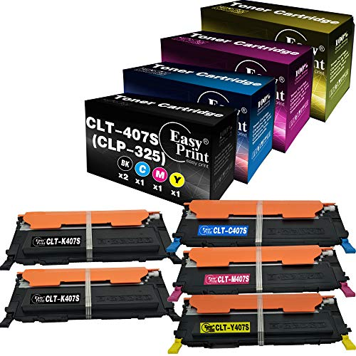 5-Pack (2X K+ C+ M+ Y) Compatible CLT-407S CLT-K407S CLT-C407S CLT-M407S CLT-Y407S Toner Cartridge 407S Used for Samsung CLP-325 CLP-320 CLX-3285 CLX-3185 Printer, Sold by EasyPrint