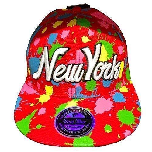 Casquette Snapback New York Splash Bleu Brut Bouchons, plat Peak Super Star Chapeaux Hip Hop Bling Unisexe Effet Peau de Serpent - Multicolore - Taill