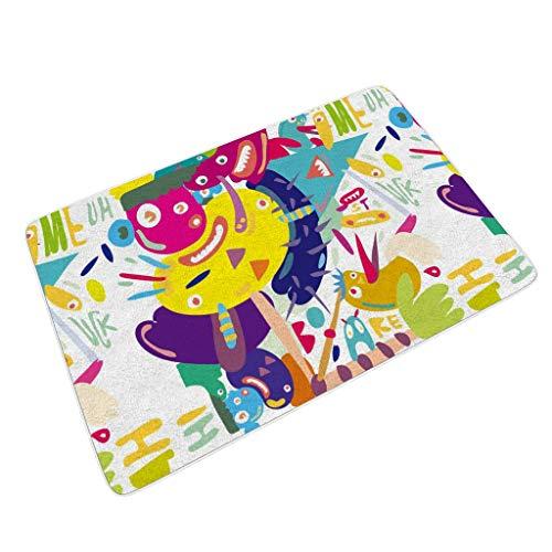 JEFFERS binnen deurmat tapijten voor binnendeur mat tapijten voor balkon Monsters Graffiti slechte handschrift Grappige deurmat Niet Slip 45x70cm tapijten kleur Grote Mat Super Absorbent 60x90cm Hallo deurmat
