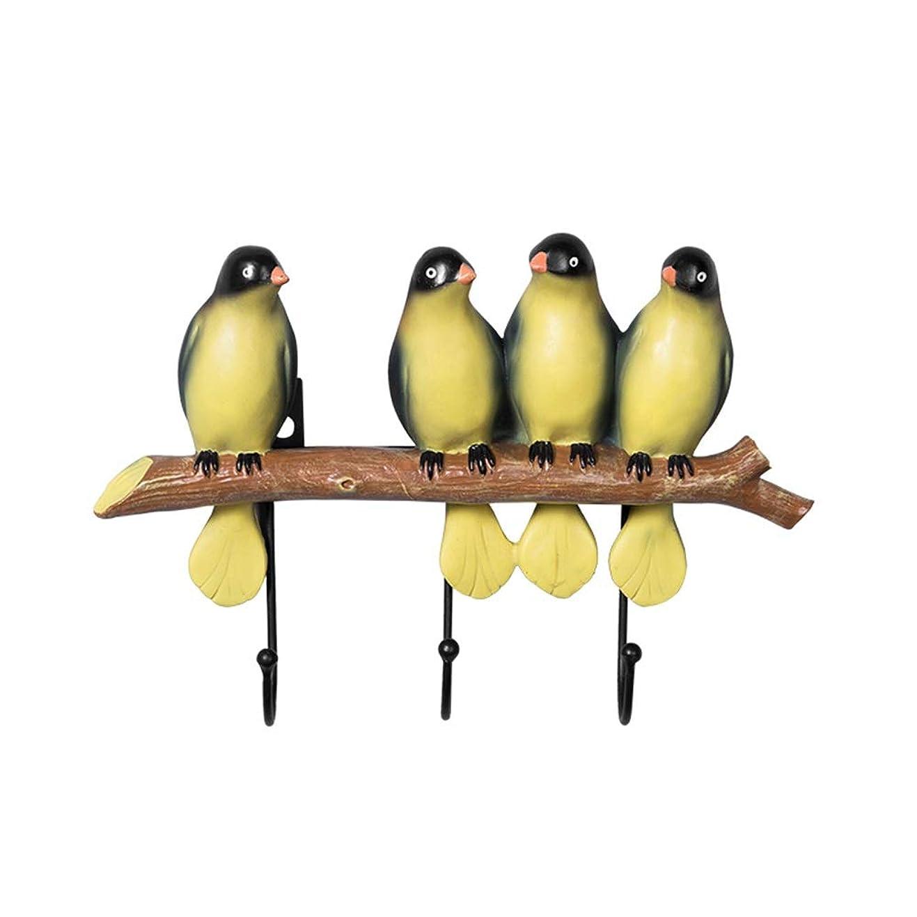 安息宝石メモ壁に取り付けられたコートラック、木の枝の装飾の鳥フックが付いている壁に取り付けられたコートの棚帽子のための衣服の貯蔵のハンガースカーフコートのセーター犬の鎖 (Color : Colored bird, Size : 4 birds)