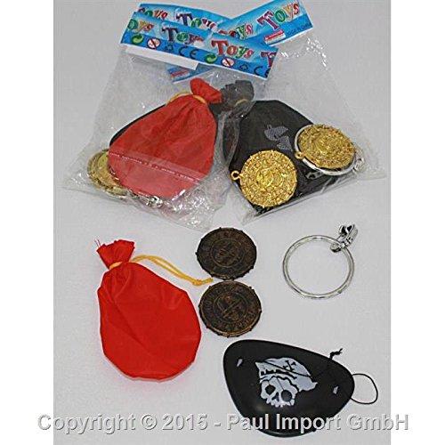 5-delige kinderpiraten, set voor kinderen met oogklep, gouden zakje, gouden taler en grote oorbel met clip, bekleding piraatfeest, kinderverjaardag, schatzoekopdracht