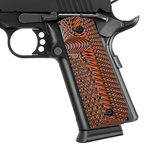 Guuun 1911 Grips G10 Full Size Government Commander Custom Grip, Ambi Safety Cut Ops Eagle Wing Texture