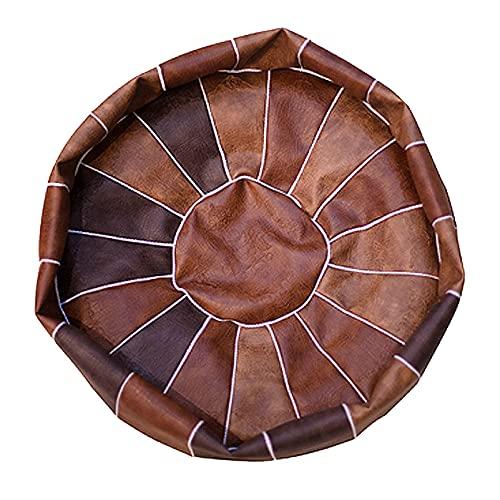 LH-Footstools Funda de puf sin Relleno, puf Redondo de Piel sintética/reposapiés, puf, Silla de Suelo, Taburete para pies, decoración del hogar, 50x30cm