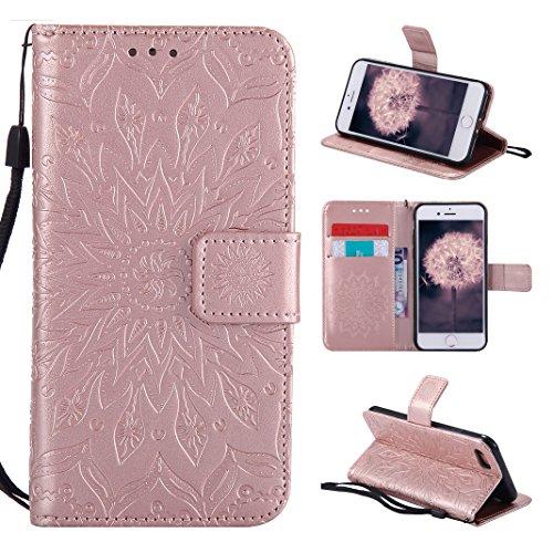 Asnlove Tasche für iPhone 8, Handyhülle iPhone 7 Leder, Premium Ledertasche im Ständer Book Hülle Brieftasche mit Kartenfach Magnetverschluss & Standfunktion für Apple iPhone 8/7 Design Mandala