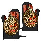 Mayblosom, guanti da forno per Halloween, zucca con scritta Vect, resistenti al calore, guanti da cucina antiscivolo per cucinare, cuocere, grigliare, microonde e barbecue (1 paio)