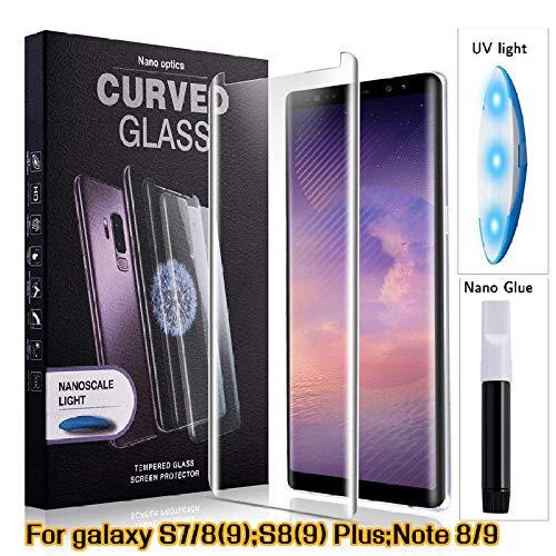 PANGLDT [3-pack Voor High Tech UV Lijm Screen Protector Voor Samsung Galaxy Note 9 Gehard Glas Volledige Cover Met Ultraviolet Licht, for s9 plus