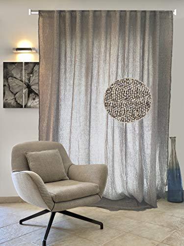 Cortina Flaminia marrón cortina 100% lino elegante y moderna con una trama ligera, fabricada en Italia