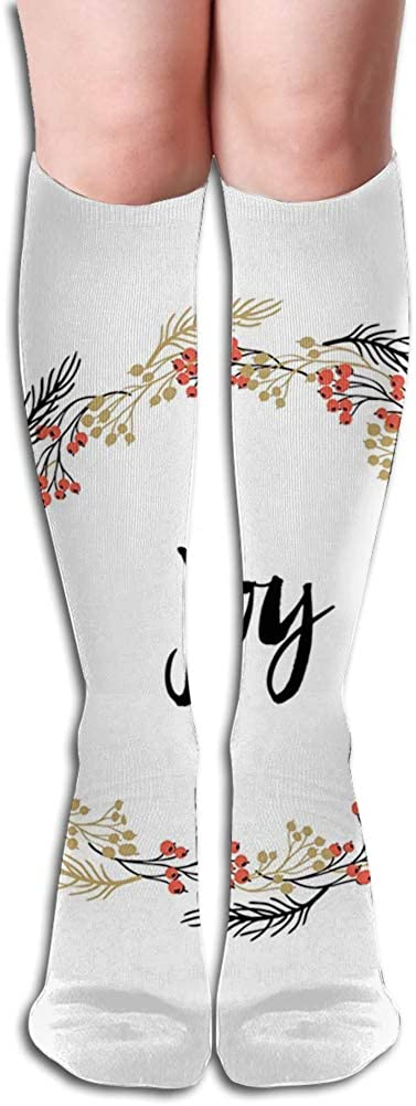 Men's and Women's Funny Casual Combed Cotton Socks,Hand Drawn Phrases in Wreaths Vintage Floral Arrangement Foliage Xmas Design