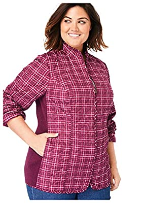 Woman Within Women's Plus Size Zip-Front Quilted Jacket - 3X, Deep Cranberry Plaid by Woman Within