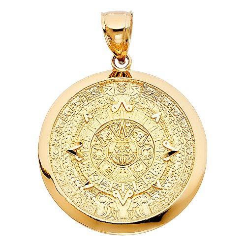 Top Gold & Diamond Jewelry TGDJ- Calendario de Oro Amarillo de 14 Quilates con Colgante de Azteca (Altura 36 mm, Ancho 36 mm)