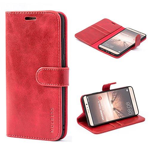 Mulbess Handyhülle für Huawei Mate 9 Hülle Leder, Huawei Mate 9 Handy Hüllen, Vintage Flip Handytasche Schutzhülle für Huawei Mate 9 Hülle, Wein Rot