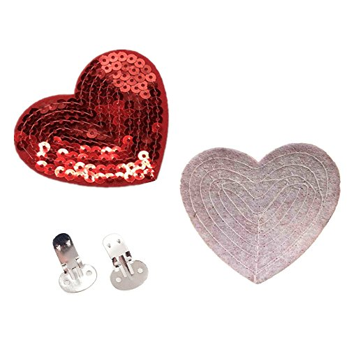 QTMY 1 Pair Iron on Patches with Shoe Clips DIY Crafts Findings Accessories (Heart Sequins Patches with Shoe Clips)