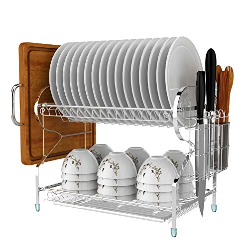 2 Tier Dish Drying Plate Rack Compact Dish Drying Rack Chromium Alloy Dish Drainer-15.9 x 8.1 x 13.8 inch(US Stock)