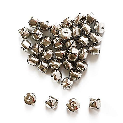 YEJI 40pcs Silver 1 Inch Christmas Bells Iron Loose Metal Beads Jingle Bells Christmas Decoration Pendants DIY Crafts Handmade Accessories