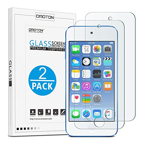 Omoton New iPod touch (6th Gen, 2015 Released) Tempered Glass Screen Protector, 0.26mm Ultrathin Screen Protector with [9H Hardness] [Super Clarity] [Scratch-Proof] [No-Bubble Installation], 2 pack