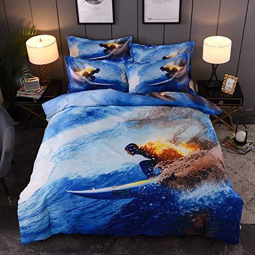 Bettwäsche Set 135x200cm Blaues Meer Mikrofaser Bettwäsche Angenehme 2 teilig Bettbezug Set mit Reißverschluss,Sport Surfen