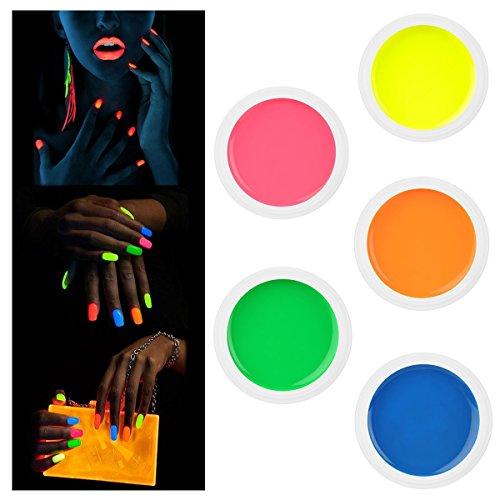 Kit 5 Gel UV Fluo Neon Colorati Nail Art RICOSTRUZIONE Unghie Glow Fluorescenti