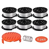 "Thten String Trimmer Spool Replacement for Black and Decker AF-100, 30ft 0.065"" Refills Line Auto Feed Single Weed Eater,GH600 GH900 Edger with RC-100-P Spool Cap Covers (6 Spools, 1 Cap,1 Spring)"
