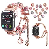 KoudHug Compatible for 38mm 40mm Apple Watch Bands 42mm 44mm Series 5 4 3 2 1, Switchable 2 in 1 DIY Charm Bracelet iWatch Replacement Band with Beaded for Women Girls (Rose Gold, 42mm/44mm)