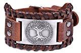 fishhook Amo Viking albero della vita l' albero del mondo Yggdrasil Talisman braccialetto bracciale in pelle e Lega, colore: Antique Silver