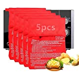 Qiwenr 5 PCS Bolsa para Patatas en Microondas, Lavable Reutilizable Bolsa de Patata de Microondas Bolsa de Cocina Perfecto Patatas Sólo en 4 Minutos Bolsas de Horno para Asar