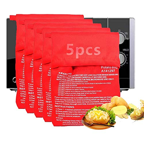 Qiwenr 5 Pcs Microonde Patata Fornello Borsa,Sacchetto per Patate al Microonde,Borsa per Microonde Riutilizzabile Borsa per Patate in Microonde Patate Microonde Fritte Sacchetto per Patate