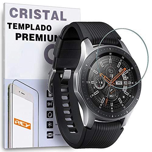 REY Protector de Pantalla para Samsung Galaxy Watch 46mm 2018, Cristal Vidrio Templado Premium