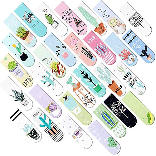 Focushop 30 Pcs Magnetic Bookmarks Assorted Cute Cactus Succulent Plants Patterns Magnet Page Makers Magnet Page Clip Bookmark for Student Office Reading Stationery