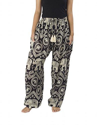 Lannaclothesdesign Women's Elephant Hippie Boho Yoga Harem Pants (XXL, Black)