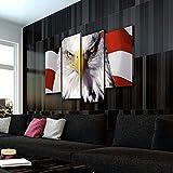 KOPASD Art Impresión Lienzo,Tamaño Grande, Bandera de águila Calva -160x100cm Diseño Profesiona/4pcs(Sin Marco)