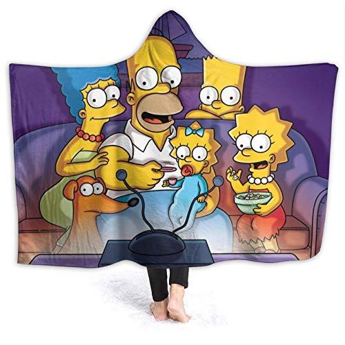 chenjian Die Simpsons Cartoon Anime Kapuze Decke werfen Cape Throw Bademantel Poncho Decke Superweiche tragbare Fleece Warm Home Flanell Decke