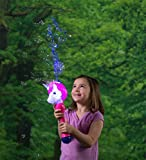 HearthSong Light-Up Unicorn Bubble Blower Wand Machine Kids Incl. 3 oz Solution Battery Operated 13' L Multi-Colored